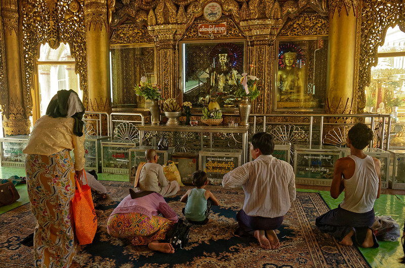 Worshippers at Sule Pagoda in downtown Yangon