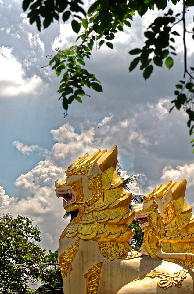 Burmese <i>chinte,</i> temple guardian lions