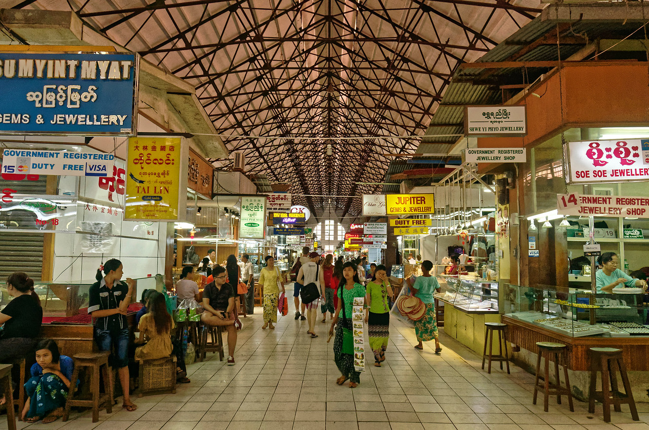 The bustling Bogyoke Market houses some 1,200 vendors selling gems and jewelry, antiques, artwork, clothing, and more.