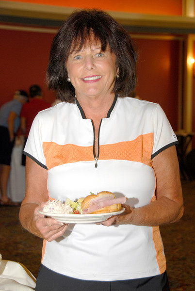 Shirley Vandervort of O'Fallon enjoys the final round luncheon buffet.