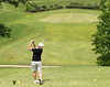 Patty  Robinson hitting to a downhill green at Franklin County CC