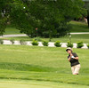 Nancy Sebastian pitches that one high onto the green.