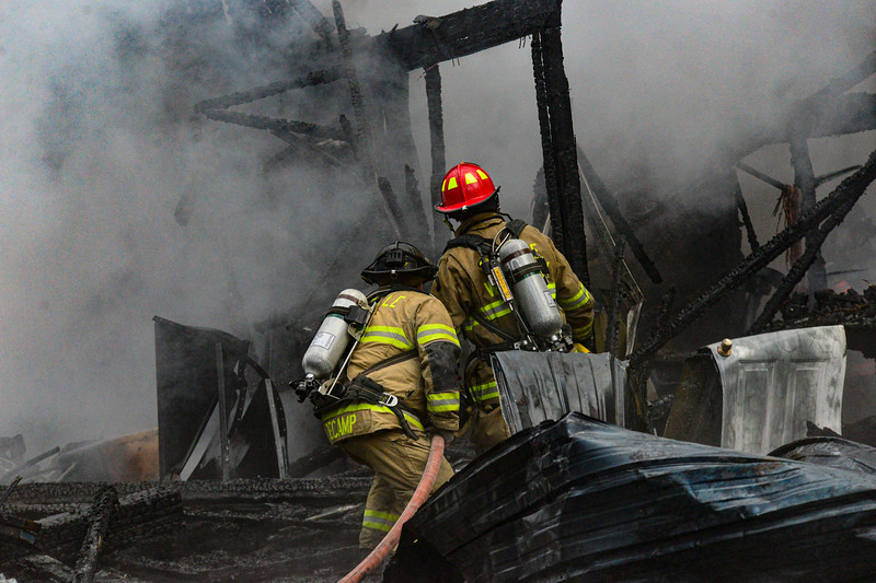 KRISTOPHER RADDER — BRATTLEBORO REFORMER<br /> Multiple agencies responded to a two-alarm structure fire that destroyed a barn at 229 Bellows Falls Road, in Putney, Vt., on Friday, March 20, 2020. The cause of the fire is under investigation.