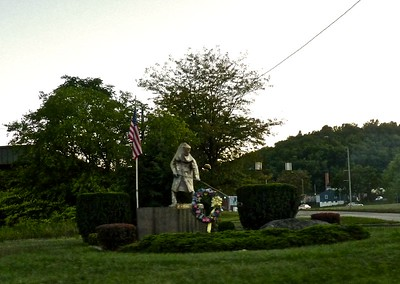 A firefighter monument.