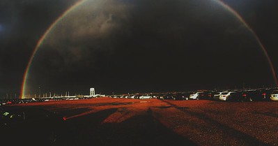 Rainbow over parking lot at work
