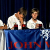 Tewksbury Knowledge Bowl team members L-R, Andy Harlaka 14, David Penney 14, reacting to missing out on a correct answer, Mason Haines 13, and Kimsan Nguyen 12. SUN/David H. Brow