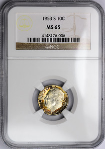 1953 S DIME - ROOSEVELT, SILVER NGC MS65 Obverse