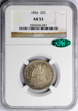 1856 QUARTER DOLLAR - SEATED LIBERTY, NO MOTTO NGC AU53 CAC Obverse