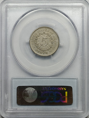1866 FIVE-CENT PIECE - SHIELD, RAYS PCGS XF45 CAC Reverse
