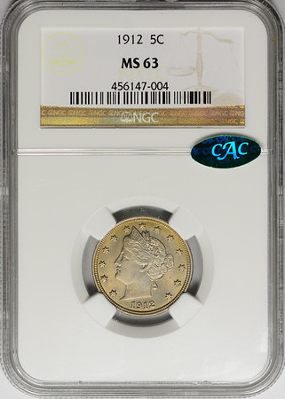 1912 FIVE-CENT PIECE - LIBERTY HEAD, CENTS NGC MS63 CAC Obverse