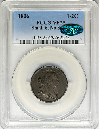 1806 HALF CENT - DRAPED BUST SMALL 6 NO STEMS C-1 PCGS VF25 BROWN CAC Obverse