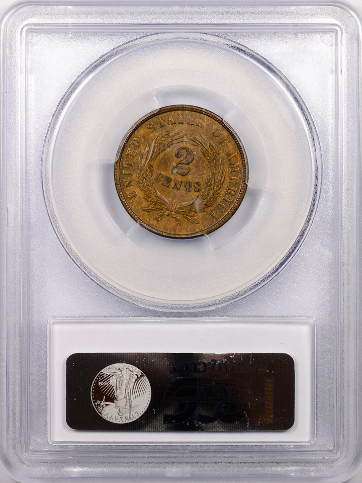 1864 TWO-CENT PIECE LARGE MOTTO PCGS MS62 BROWN CAC Reverse