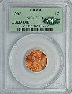 1995 CENT - LINCOLN, MEMORIAL REVERSE DDO PCGS MS66 RED CAC gold Obverse