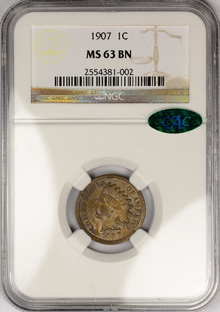 1907 CENT - INDIAN HEAD, BRONZE NGC MS63 BROWN CAC Obverse