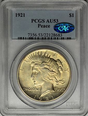 1921 SILVER DOLLAR - PEACE LIBERTY HEAD - HIGH RELIEF PCGS AU53 CAC Obverse
