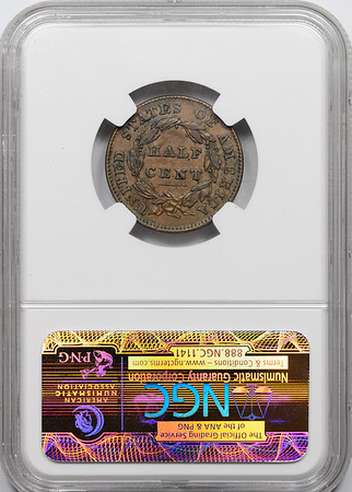 1832 HALF CENT - CLASSIC HEAD NGC AU55 BROWN CAC Reverse