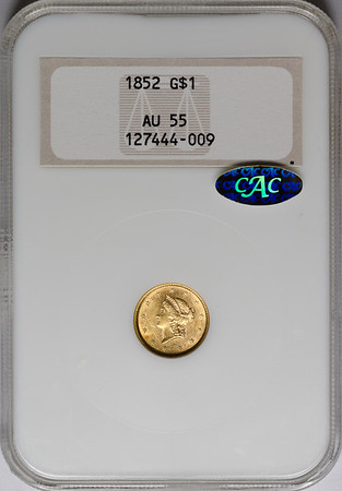 1852 GOLD DOLLAR TYPE 1 NGC AU55 CAC gold Obverse