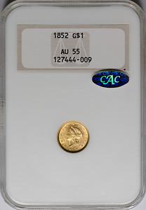 1852 GOLD DOLLAR TYPE 1 NGC AU55 CAC gold Obverse