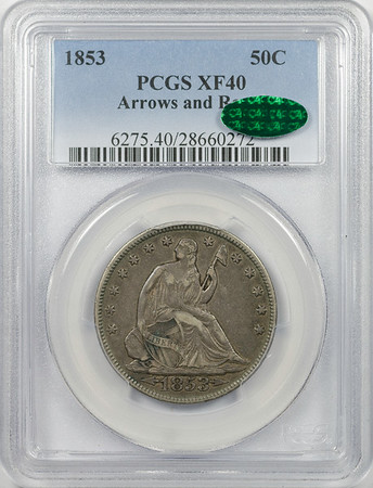 1853 HALF DOLLAR - SEATED LIBERTY, ARROWS & RAYS PCGS XF40 CAC Obverse