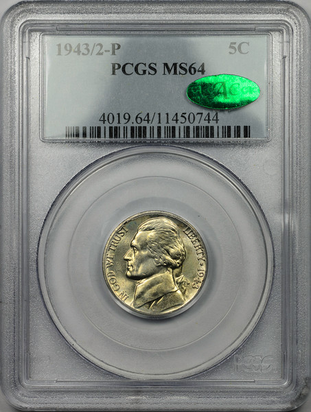 1943 P FIVE-CENT PIECE - JEFFERSON 1943 OVER 2 PCGS MS64 CAC Obverse