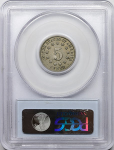 1876 FIVE-CENT PIECE - SHIELD, NO RAYS PCGS XF45 CAC Reverse