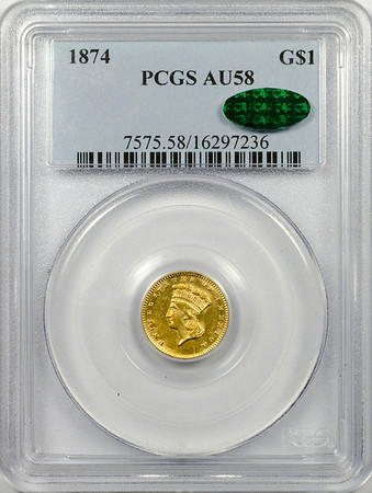 1874 GOLD DOLLAR - TYPE 3 PCGS AU58 CAC Obverse