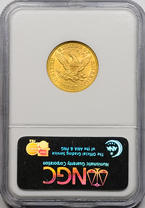 1886 S G$5 HALF EAGLE - CORONET, MOTTO GOLD NGC MS62 CAC REVERSE SLAB