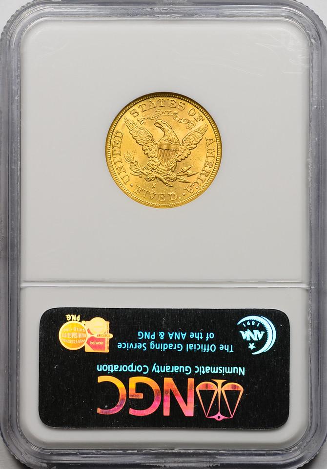 1886 S G$5 HALF EAGLE - CORONET, MOTTO GOLD NGC MS62 CAC REVERSE SLAB