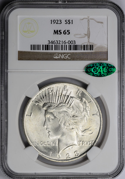1923 SILVER DOLLAR - PEACE LIBERTY HEAD NGC MS65 CAC Obverse