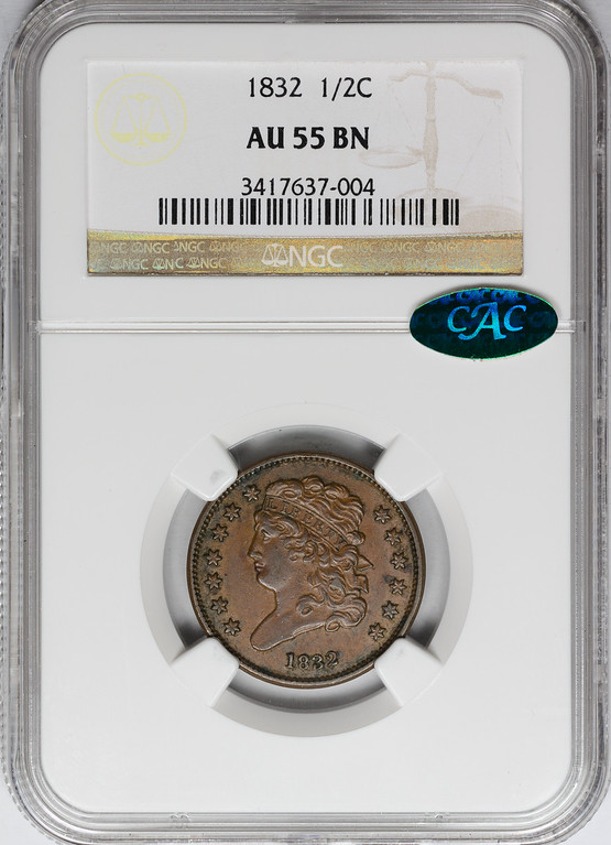 1832 HALF CENT - CLASSIC HEAD NGC AU55 BROWN CAC Obverse