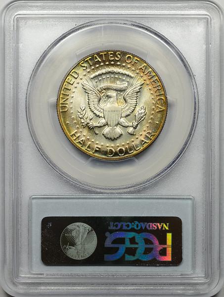1969 D HALF DOLLAR - KENNEDY, 40% SILVER PCGS MS65 + Reverse