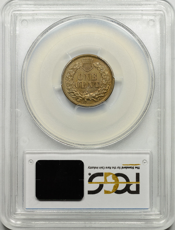 1863 CENT - INDIAN HEAD, COPPER-NICKEL WITH SHIELD PCGS MS62 CAC Reverse