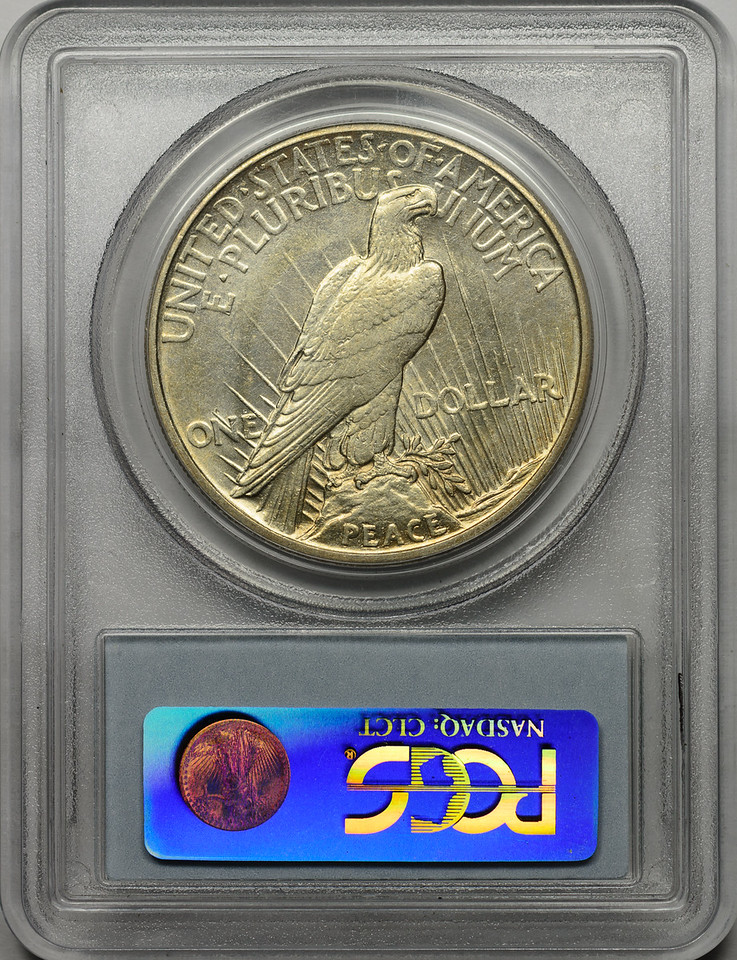 1921 SILVER DOLLAR - PEACE LIBERTY HEAD - HIGH RELIEF PCGS AU53 CAC Reverse