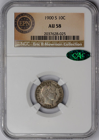1900 S DIME - BARBER LIBERTY HEAD NGC AU58 CAC Obverse