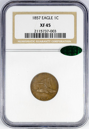 1857 CENT - FLYING EAGLE NGC XF45 CAC Obverse