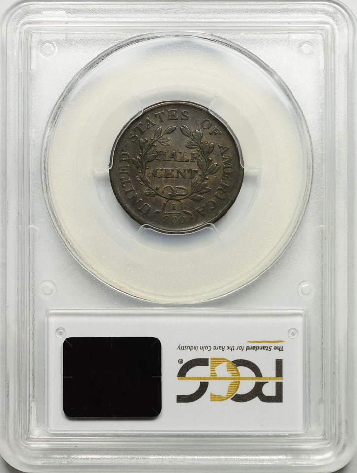 1806 HALF CENT - DRAPED BUST SMALL 6 NO STEMS C-1 PCGS VF25 BROWN CAC Reverse