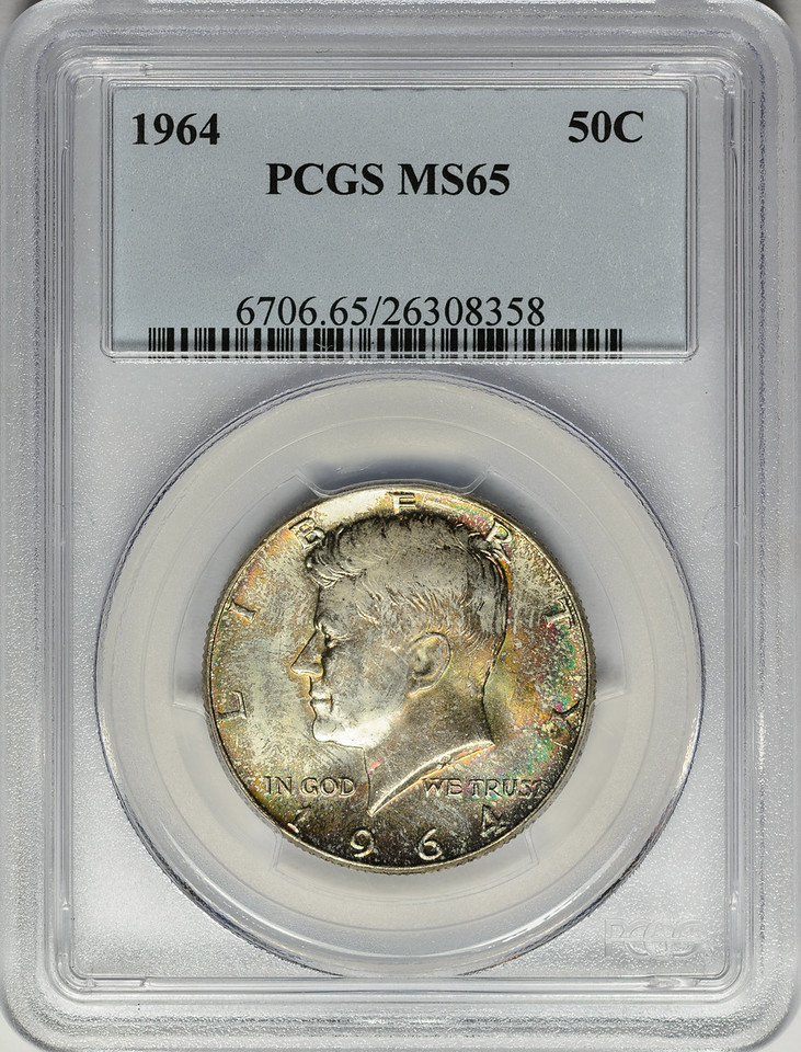1964 HALF DOLLAR - KENNEDY, SILVER PCGS MS65 Obverse