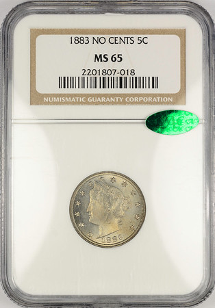 1883 FIVE-CENT PIECE - LIBERTY HEAD, NO CENTS NGC MS65 CAC Obverse