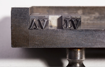 Capital V and T of the original 17th-century Janson-Kis typeface, supplied already kerned by the foundry. However, the majority of V and T were supplied without kerned parts.