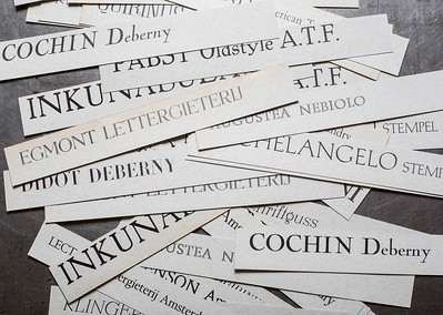 Labels of the typefaces included in the Archive of Styles®.