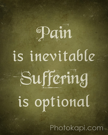 Pain is inevitable, Suffering is optional.