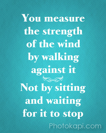 You measure the strength of the wind by walking against it, not by sitting and waiting for it to stop.