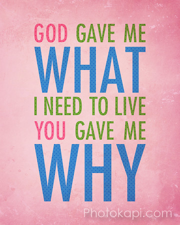 God gave me what I need to live, You gave me why.