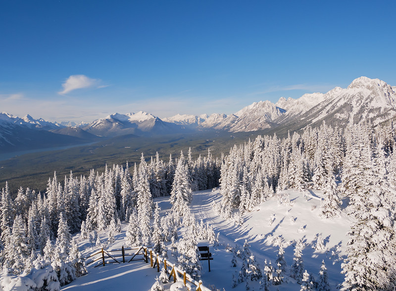 View north from the lookout, towards the Smith-Dorrien and Kananaskis valleys. With plenty of soft new snow, the long descent was relatively easy, but with limited turns due to the catchy hard base not playing well with my 54mm metal edge light touring skis.