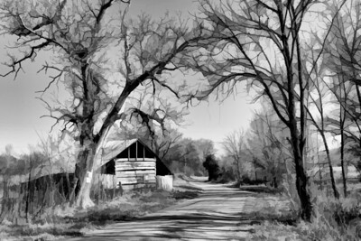 "ETC-3345  ""Country Barn and Road"" in Black and White"