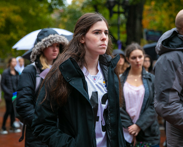 Shoshana Kaplan, a senior from Squirrel Hill, attends the vigil held at the Univerity of Michigan on October 28, 2018.
