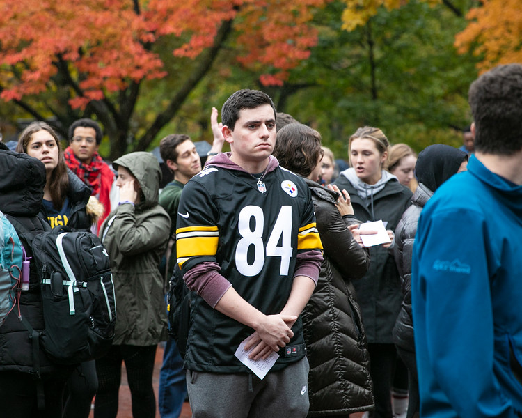 Marty Taxay from Squirrel Hill, Pennsylvania, attends the vigil at the University of Michigan on October 28, 2018.
