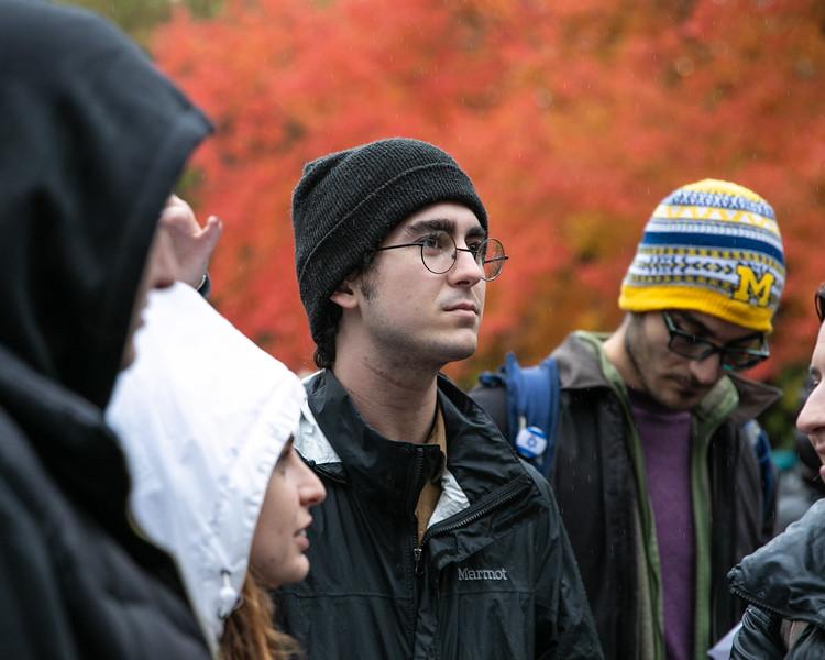 Adriano Macciocchi attends the vigil held at the University of Michigan on October 28, 2018.