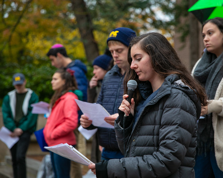 University of Michigan Hillel Chair Kendall Coden speaks at the vigil held at the University of Michigan on October 28, 2018.