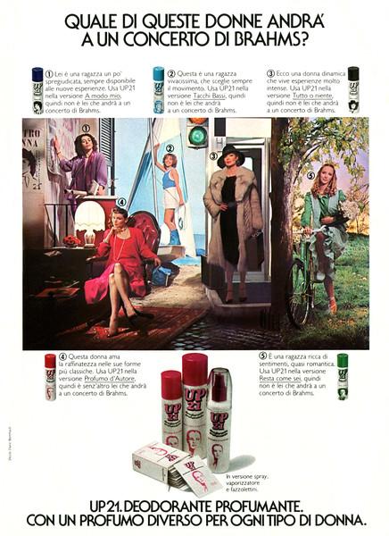 UP 21 deodorants1979 Italy 'Quale di queste donne andra' a un concerto de Brahms?'
